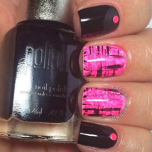 Pink and Black Nail Polish Design