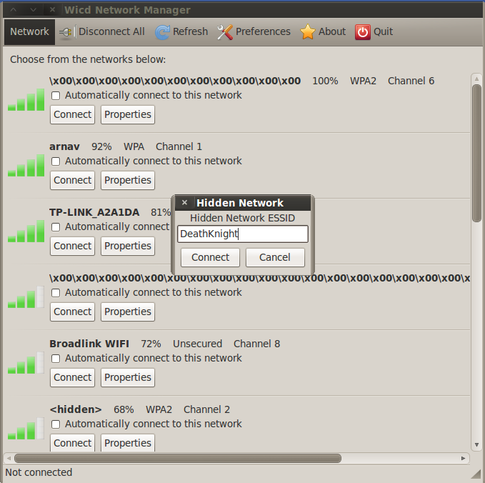 Wicd validating authentication wep