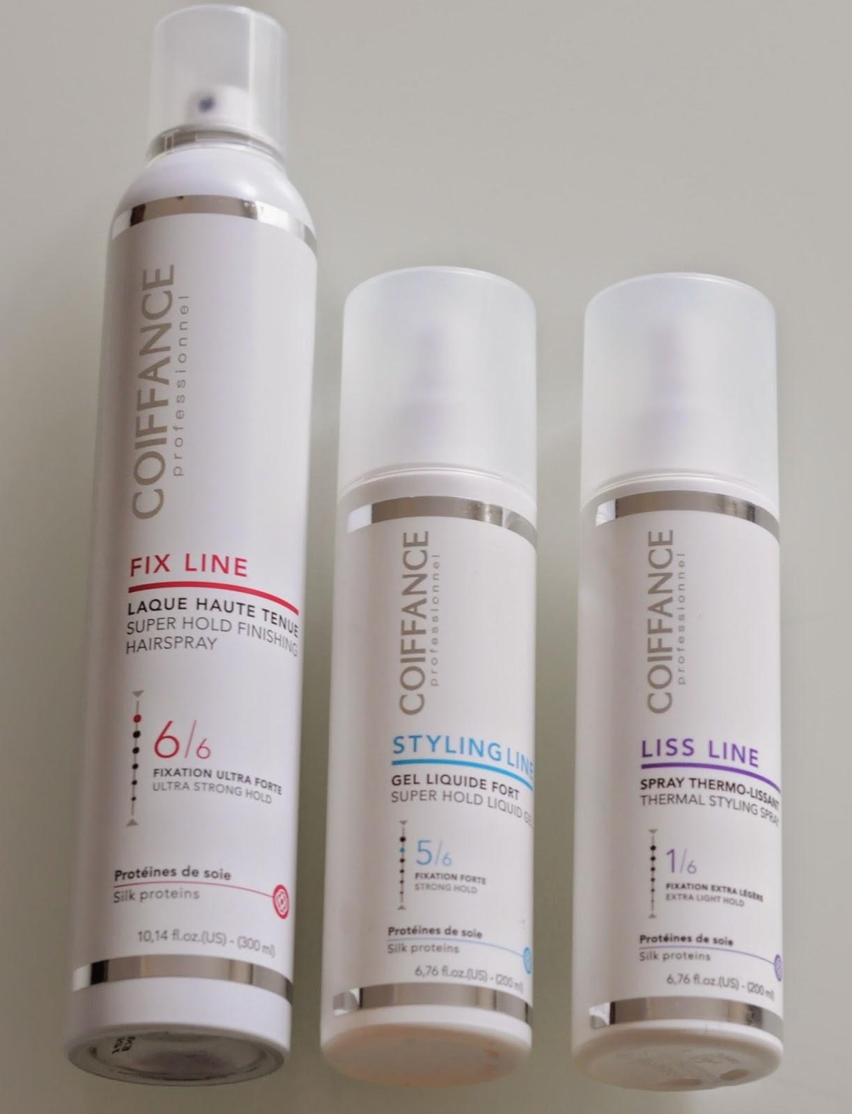 Produits Coiffance: gel liquide fort, laque haute tenue, spray thermo-lissant