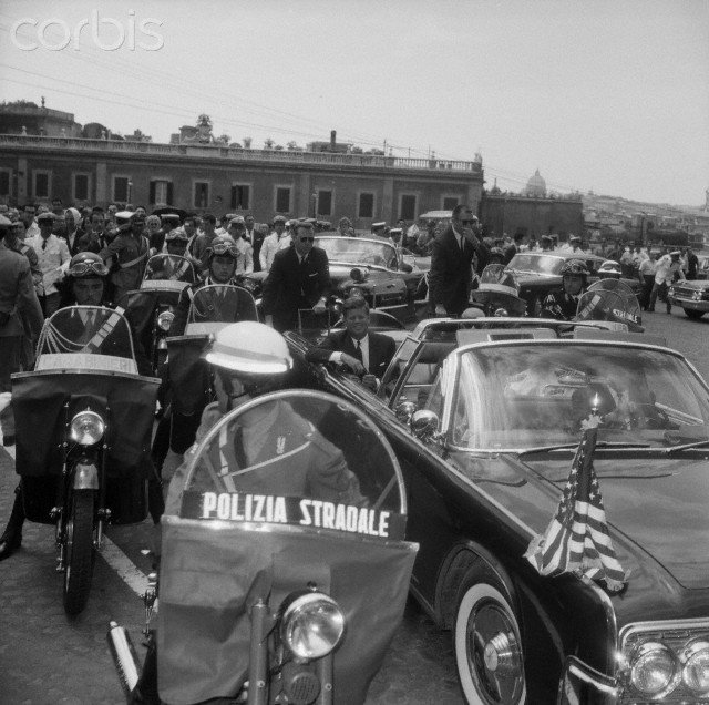 JULY 1963: GRANT AND BLAINE ON REAR OF JFK'S LIMO; GREAT MOTORCYCLE FORMATION
