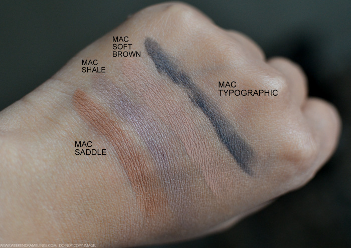 MAC Neutral Eyeshadows Swatches - Shale Saddle Typographic Soft Brown - Indian Beauty Blog