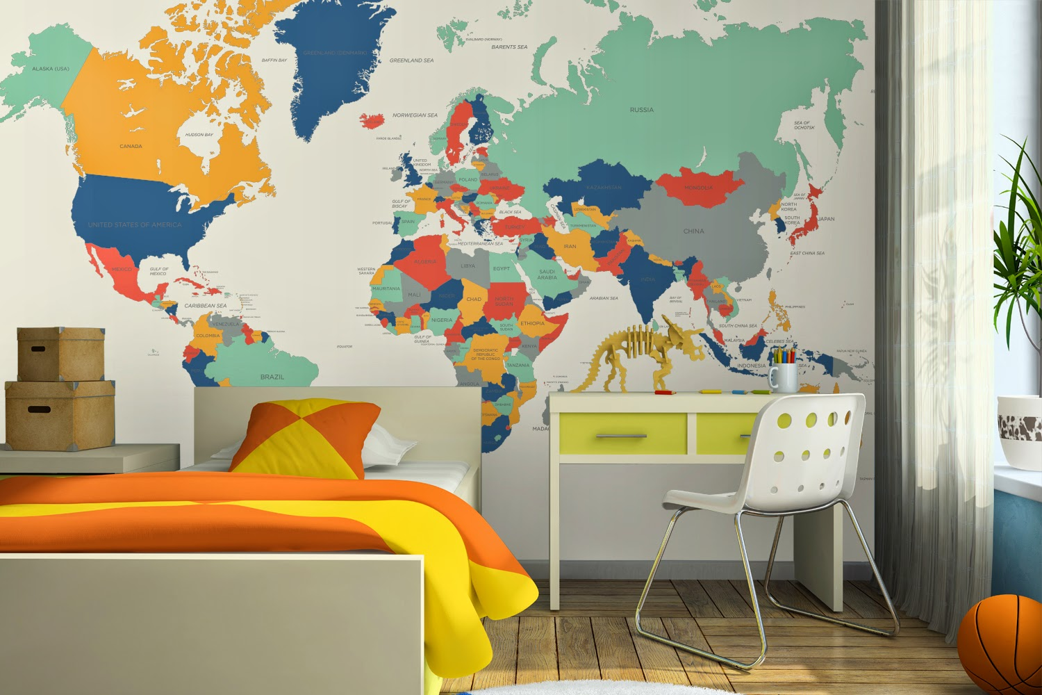 Madhouse family reviews giveaway 473 win a world map for Childrens mural wallpaper
