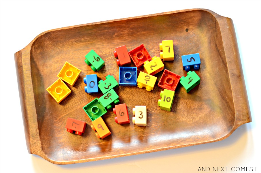 LEGO elementary math tray: learning about integers from And Next Comes L