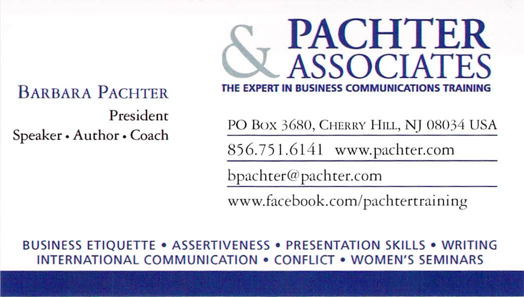Barbara pachters blog pachters pointers business cards in a barbara pachters blog pachters pointers business cards in a social media world reheart Image collections