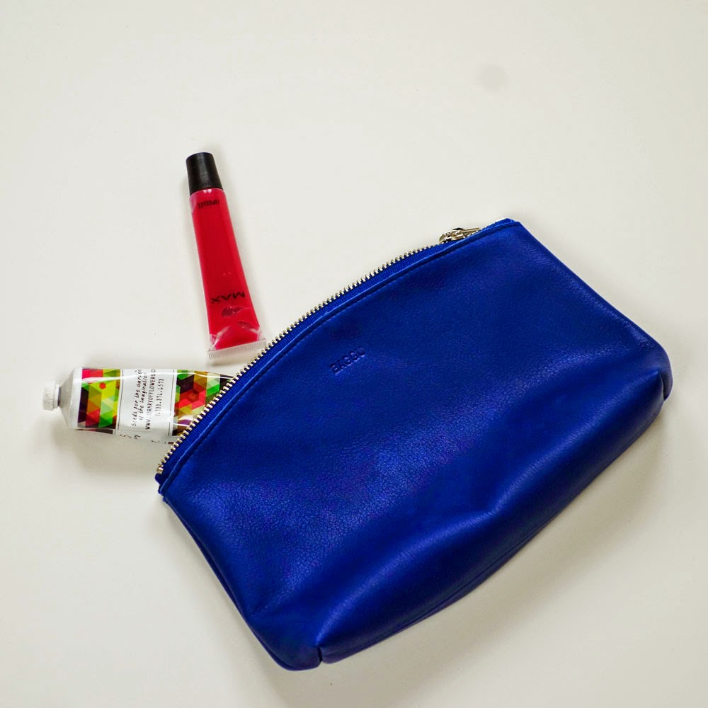Baggu Medium Leather Clutch in Blue