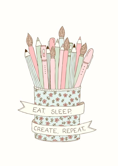 Emma Margaret Illustration Eat Sleep Create Repeat 2015