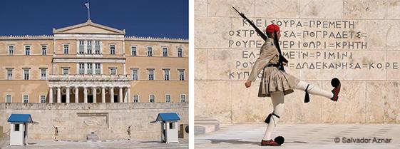 Parlamento Nacional de Atenas en la plaza Syntagma y guardia Evzon
