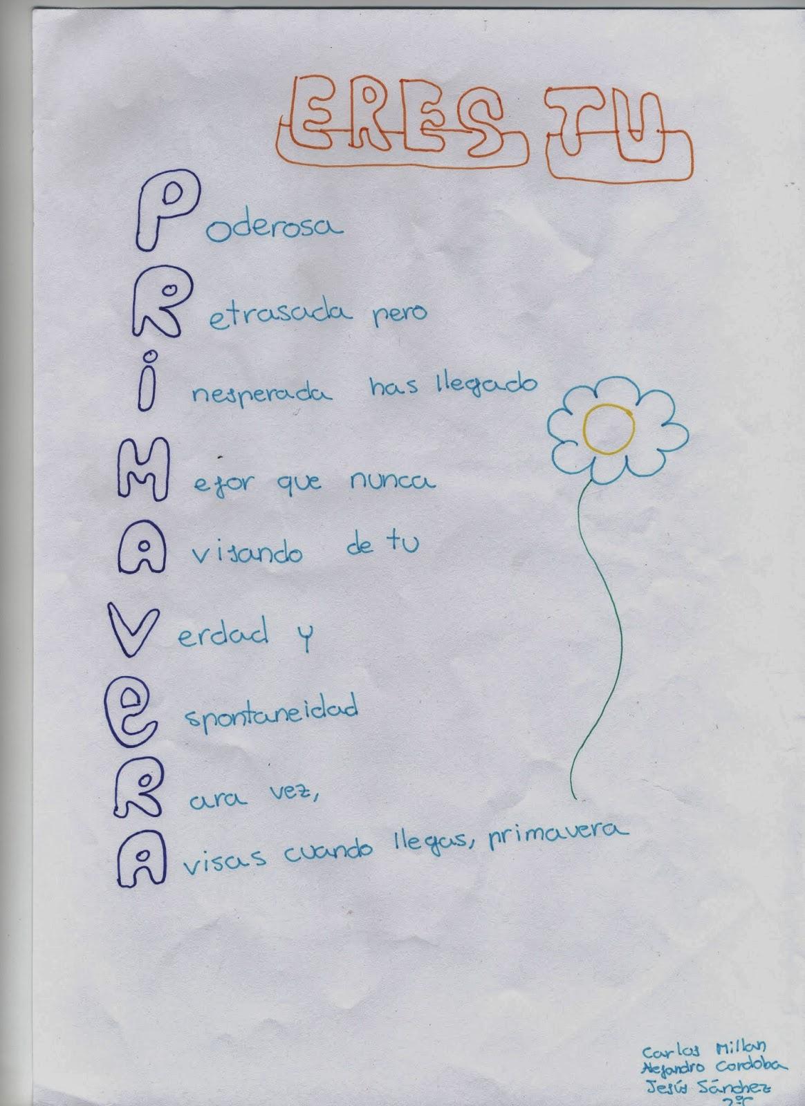 Bonito Plantilla De Poema Acróstico De Primavera Imágenes ...