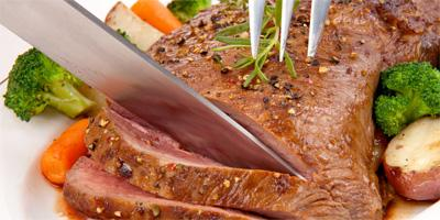 Red meat....All you need to know  - knife cut meat slice