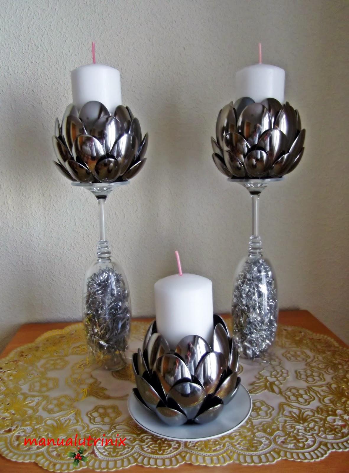 Manualidades manualytrinix portavelas de cucharas for Decoracion de espejo con material reciclable