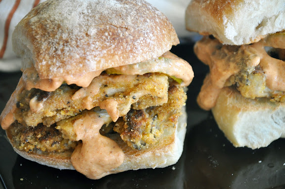 Recipe: Vegetarian Oyster (mushroom) po' boy sliders