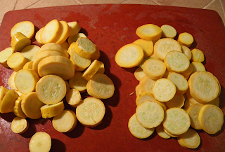 Two Piles of Squash on Cutting Board
