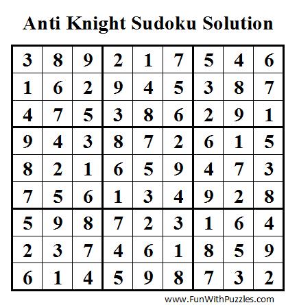 Anti Knight Sudoku (Daily Sudoku League #40) Solution