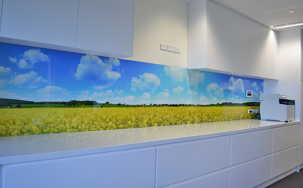 The process followed is very similar to the painted glass splashbacks  the  image is printed onto the rear of the glass and sealed to protect it from  heat, ...