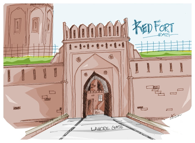 Red Fort Lahore Gate Sketch