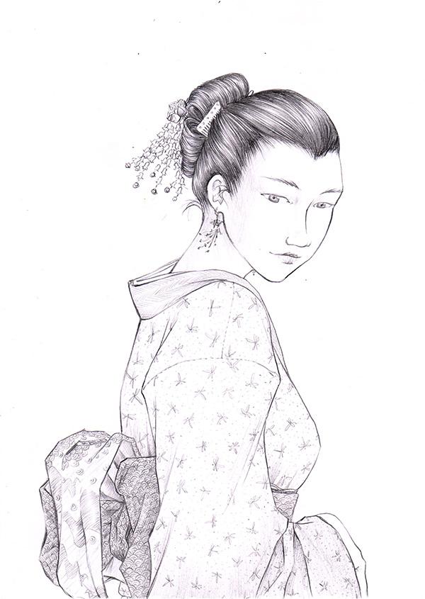 Japonaise en kimono à motifs, criterium