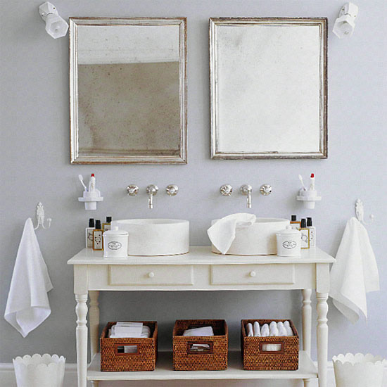 I Love The Mix Of The White Painted Pieces With The Chrome Fixtures And The  Silver Framed Mirrors. The Storage Baskets Add A Nice Bit Of Texture.