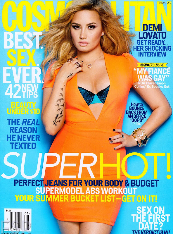 Demi Lovato super hot on the cover of Cosmopolitan USA August 2013 issue