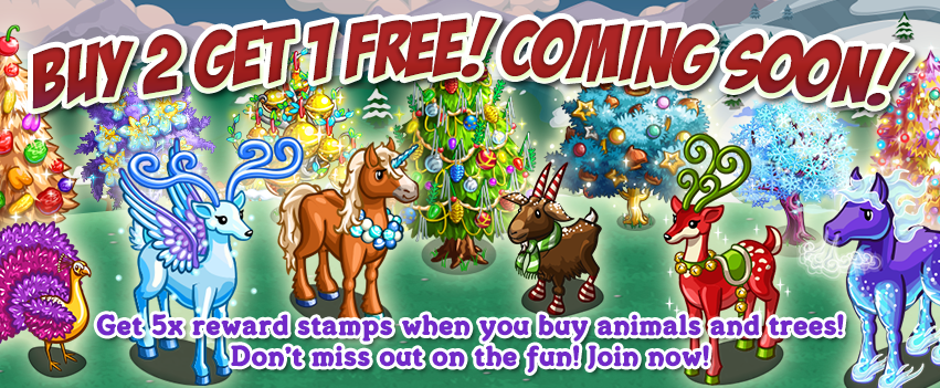 Farmville new Facebook Event: Buy 2 Get 1 Free starts from 17th December, 2013.
