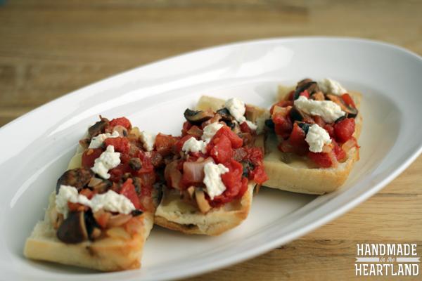 Mushroom, Caramelized Onion, Tomato & Cheese Bruschetta