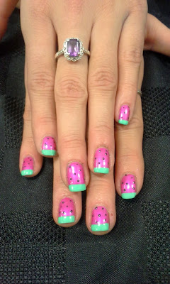 My new manicure by The Bio Seaweed Girls at the After Party. Watermelon nailart at Spark Sessions after party