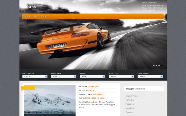 Cars Gear Orange Free Blogger Theme Template