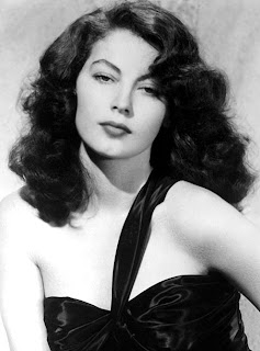 Vintage black and white photo of Ava Gardner