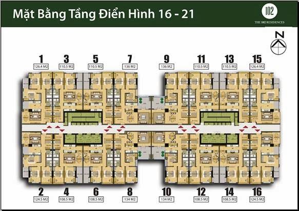 Chung cư 102 Trường Chinh kinh kỳ Mặt bằng tầng 16-21