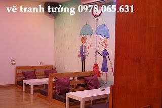 vẽ tranh tường quán trà sữa,vẽ tranh tường