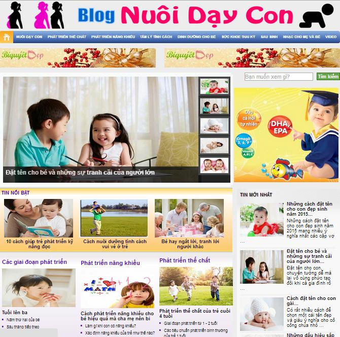 Template Blog Nuôi Dạy Con