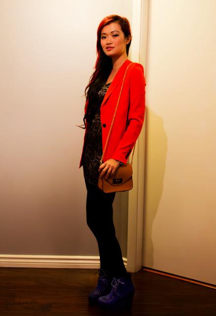 Tobi embroidered silver dress and Tobi orange blazer, Complete outfit, blue wedges, vegan purse