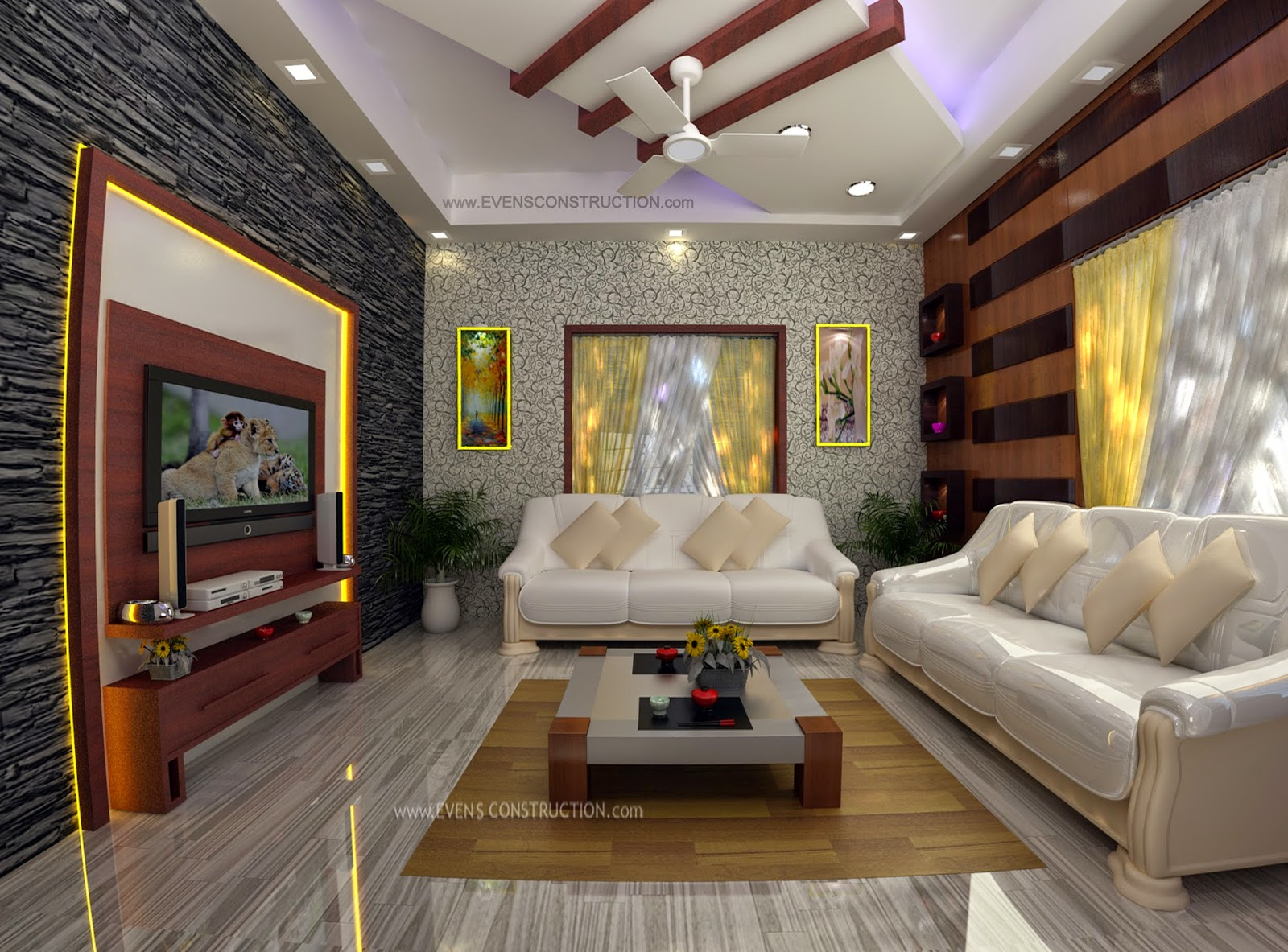 Evens construction pvt ltd living room interior for Kerala home living room designs
