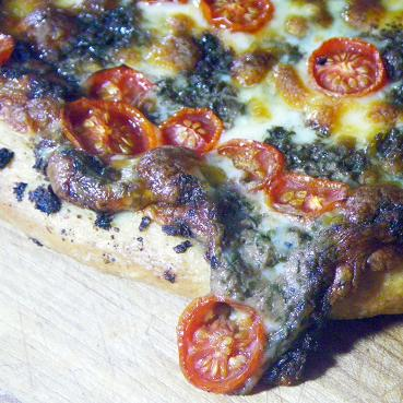 Year on the Grill: Pizza - Basil Pesto and Cherry Tomatoes