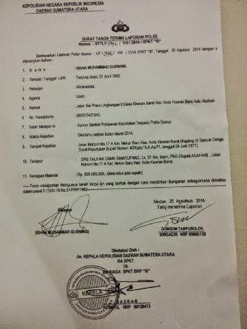 Asahan Pers Club Surat Tanda Terima Laporan Polisi Bupati