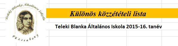 KÜLÖNÖS KÖZZÉTÉTELI LISTA 2015/2016