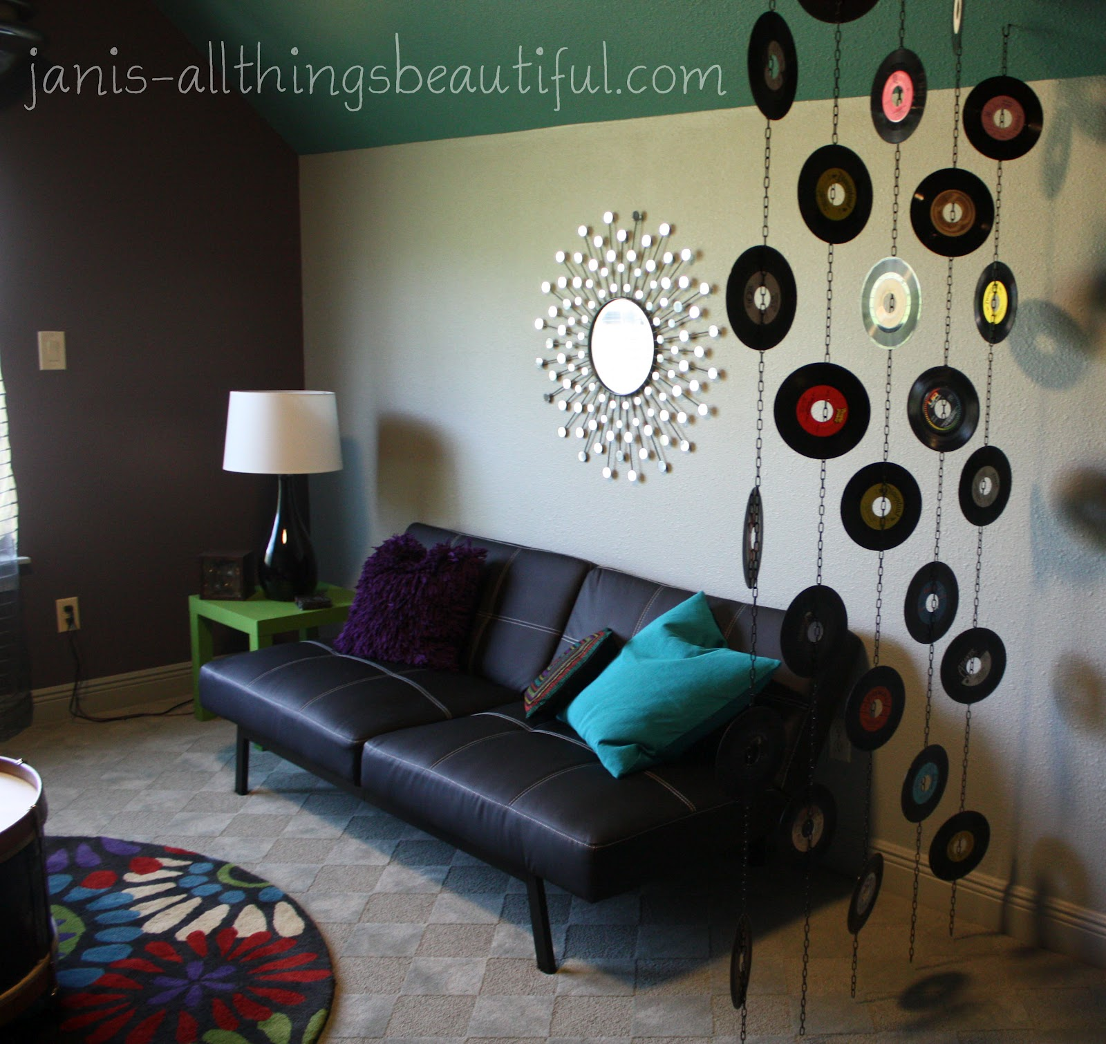 All things beautiful groovy pool room danceoff for Vinyl record decoration ideas