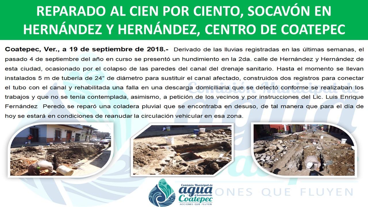 SOCAVÓN EN HERNÁNDEZ Y HERNÁNDEZ, CENTRO DE COATEPEC