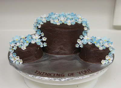 Thinking of You Cake with Blue Flowers - Level View