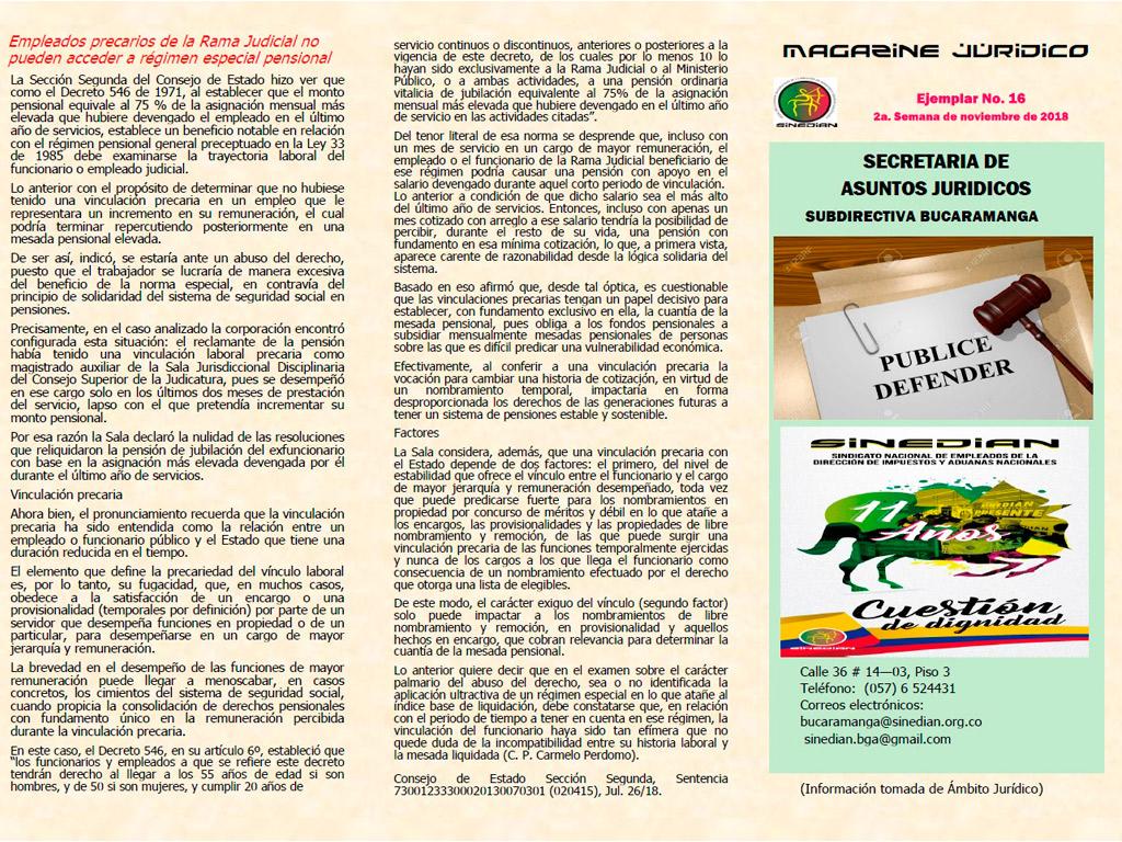 Magazine Juridico Ejemplar No. 16 2a. Semana de noviembre de 2018