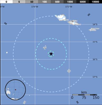 Epicentro sismo Tonga 12 de Junio 2015