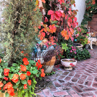 fall patio, fall leaves, fall flowers