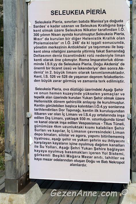 Titus tünelini inşa eden Seleukeia Pieria devleti hakkında bilgi, Samandağ Hatay