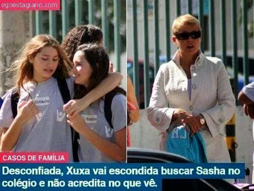 Desconfiada,Xuxa vai escondida buscar Sasha no colégio e não acredita no que vê.