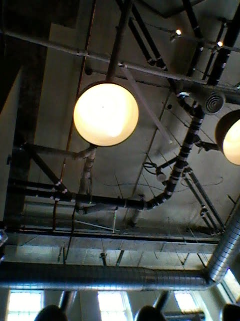 Stock photo: Pipes and lights on the ceiling