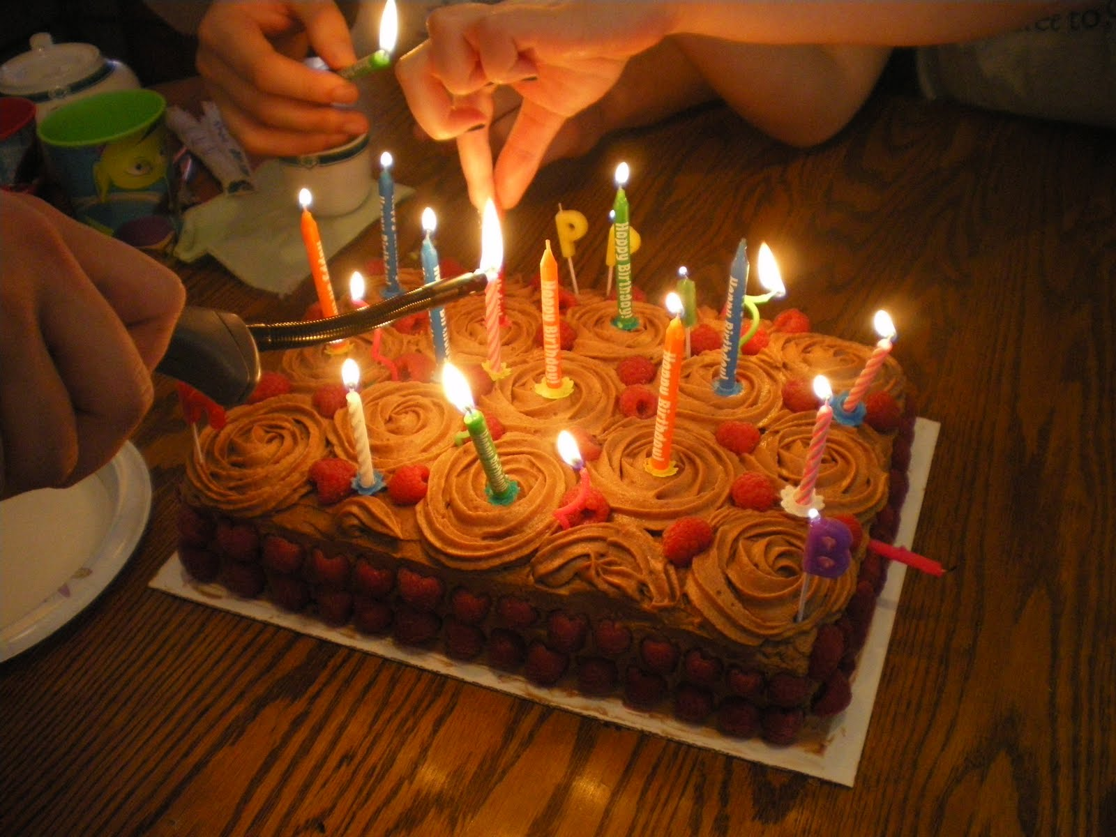 Happy Birthday Chocolate Cake With Candles Brithday Cake