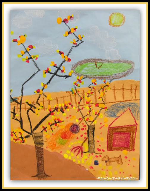 Fall Folliage Painting on Early Elementary Mixed Media Collage via RainbowsWithinReach