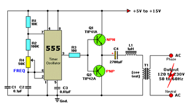 12vdc to 220vac inverter circuit using ic 555 schematic diagram 12vdc to 220vac inverter circuit using ic 555 schematic diagram