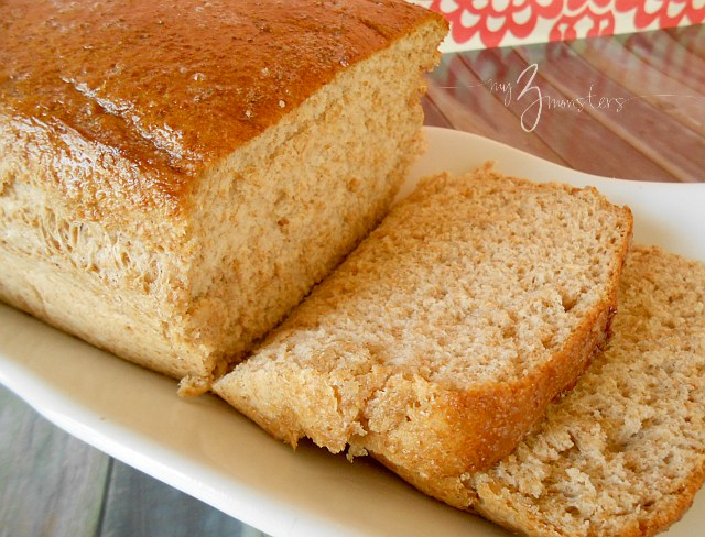 Easy Whole Wheat Bread Recipe at my3monsters.com