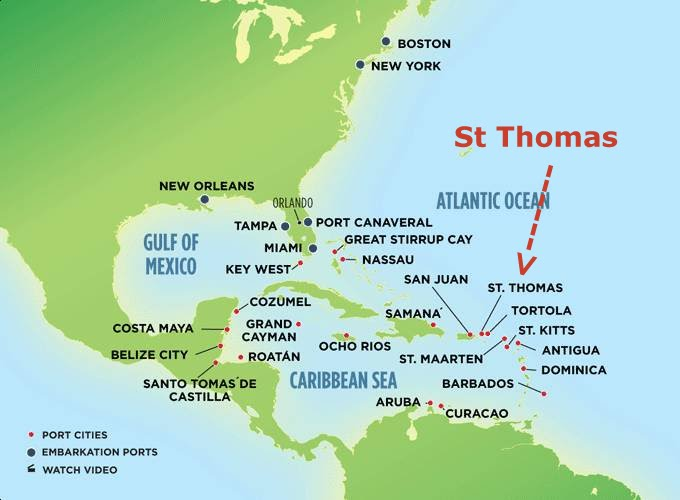 The PigglyWiggly Travels Oasis of the Seas Day 4 Hello St – St Thomas Map Caribbean