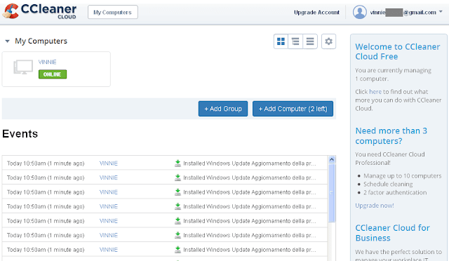 CCleaner Cloud schermata iniziale